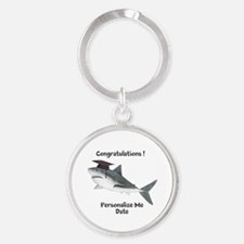 Graduation Shark Round Keychain