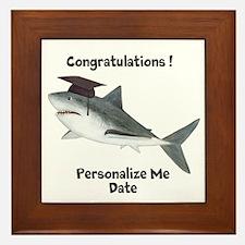 Graduation Shark Framed Tile