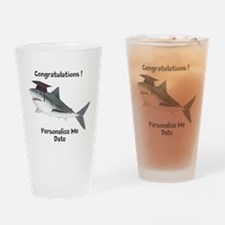 Graduation Shark Drinking Glass