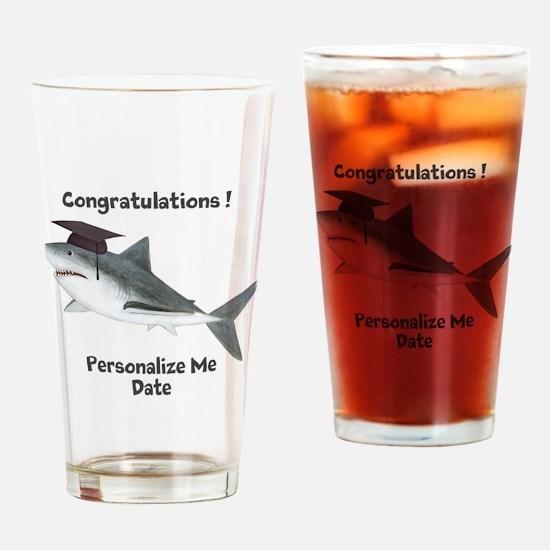Graduation Shark Drinking Glass