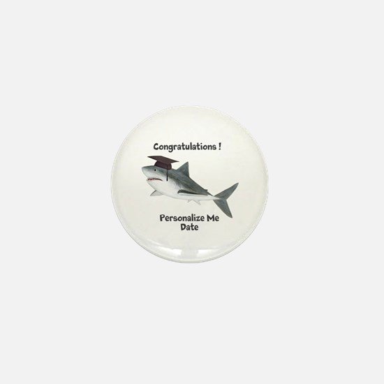 Graduation Shark Mini Button