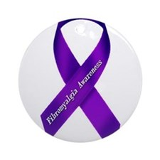 Fibro Awareness Ribbon Ornament (Round)