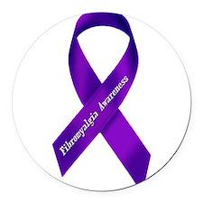 Fibro Awareness Ribbon Round Car Magnet
