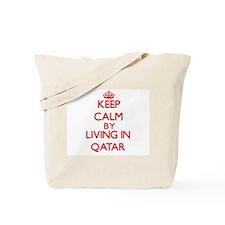 Keep Calm by living in Qatar Tote Bag