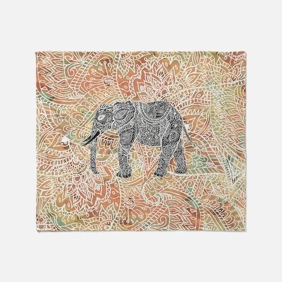 Tribal Paisley Elephant Colorful Hen Throw Blanket