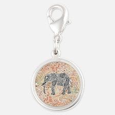 Tribal Paisley Elephant Colorf Silver Round Charm