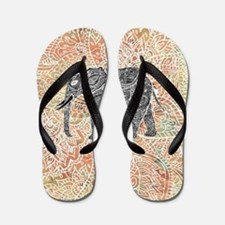 Tribal Paisley Elephant Colorful Henna  Flip Flops
