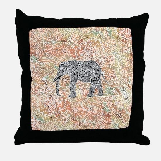 Tribal Paisley Elephant Colorful Henn Throw Pillow