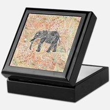 Tribal Paisley Elephant Colorful Henn Keepsake Box