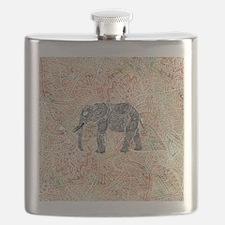 Tribal Paisley Elephant Colorful Henna Patte Flask
