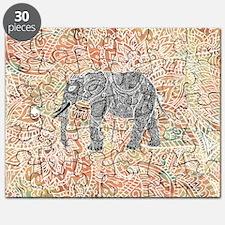 Tribal Paisley Elephant Colorful Henna Patt Puzzle
