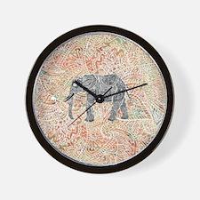 Tribal Paisley Elephant Colorful Henna  Wall Clock