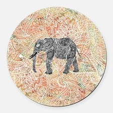 Tribal Paisley Elephant Colorful  Round Car Magnet