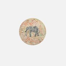 Tribal Paisley Elephant Colorful Henna Mini Button