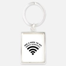 Home is where the wifi Portrait Keychain