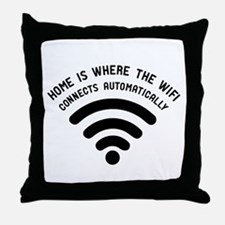 Home is where the wifi Throw Pillow