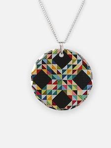 Quilt Patchwork Necklace Circle Charm
