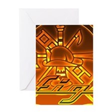Round Flame Firefighter Greeting Cards