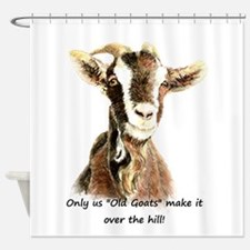 Over the Hill Old Goat Humor Quote Shower Curtain