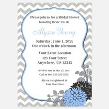 Blue Chevron Floral Shower Invite Invitations