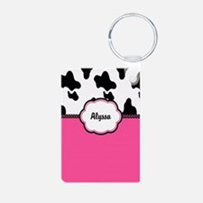 Cow Print Pink Personalized Keychains