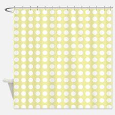 little White Dots on lemon yellow Shower Curtain