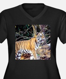 Tiger in the Women's Plus Size V-Neck Dark T-Shirt