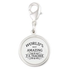 World's Most Amazing P.E. Teac Silver Round Charm