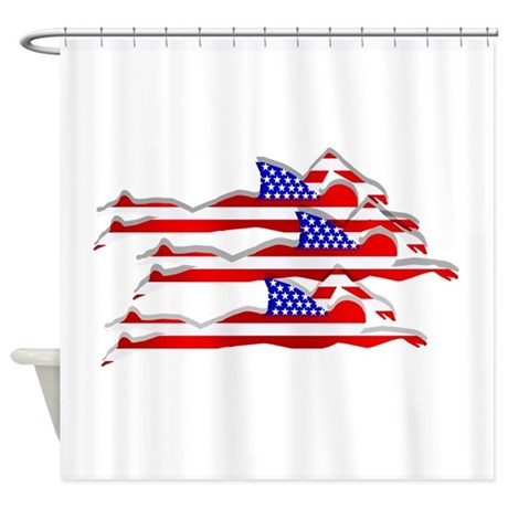 Usa swimming shower curtain by culturegraphics Swimming pool shower curtain