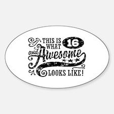 16th Birthday Sticker (Oval)