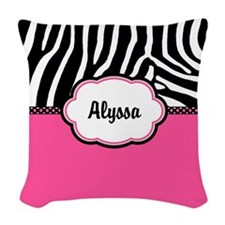Zebra Print Pink Personalized Woven Throw Pillow