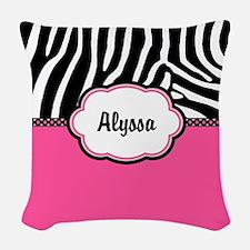 Zebra Print Pink Personalized Woven Throw Pillow