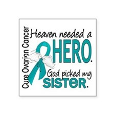 "Ovarian Cancer Heaven Neede Square Sticker 3"" x 3"""