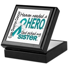 Ovarian Cancer Heaven Needed Hero 1.1 Keepsake Box