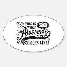 38th Birthday Sticker (Oval)