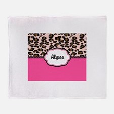 Leopard Print Pink Personalized Throw Blanket