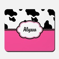 Cow Print Pink Personalized Mousepad