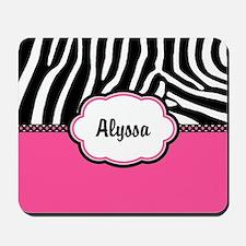 Zebra Print Pink Personalized Mousepad