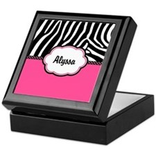 Zebra Print Pink Personalized Keepsake Box