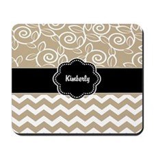 Beige Black Chevron Personalized Mousepad