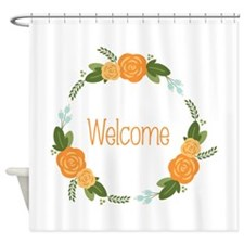 Welcome Rose Wreath Shower Curtain