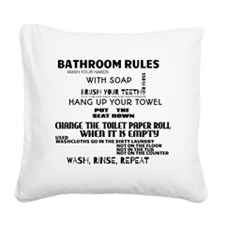 Bathroom Rules Square Canvas Pillow