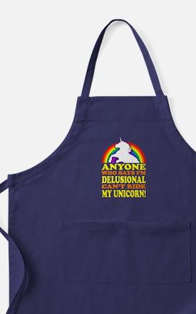 Funny! Delusional Unicorn Apron (dark)