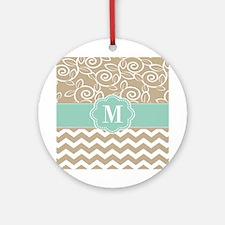 Beige Blue Chevron Monogram Ornament (Round)