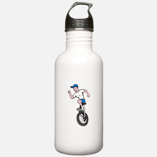 Cyclist Riding Unicycle Cartoon Water Bottle