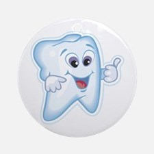 Healthy Happy Tooth Dentist Ornament (Round)