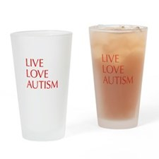 LIVE-LOVE-AUTISM-opt-red Drinking Glass