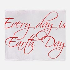 every-day-is-earth-day-scr-red Throw Blanket