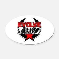 Snowmobile Evolution Oval Car Magnet