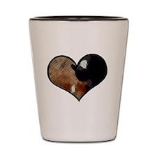 Dogs and Cats in a Heart Shaped Yin Yan Shot Glass